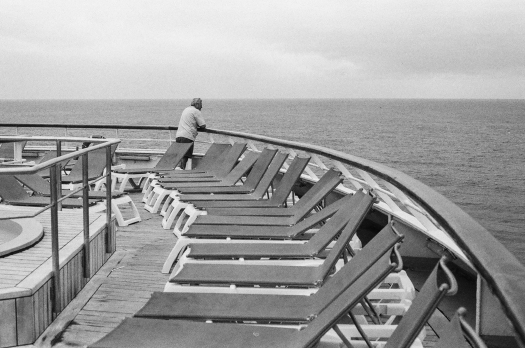 A passenger from Yorkshire takes in the horizon of the Caribbean Sea.